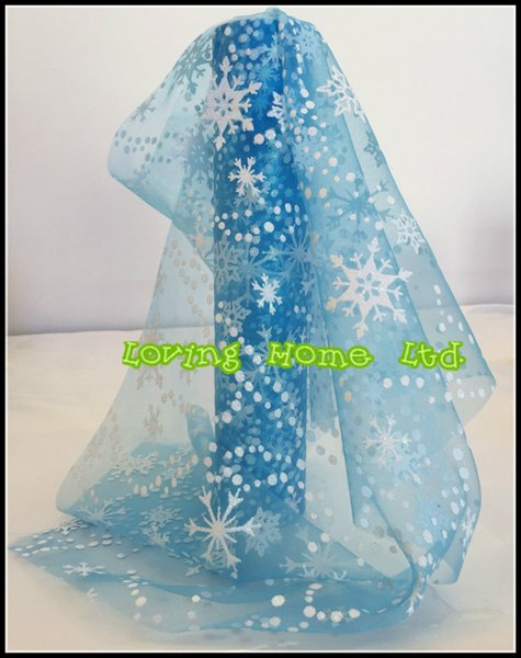 "1Pcs 27cm/10.6""x10Yard Snowflake Glitter Snow Tulle Spool Roll For Frozen Wedding Party Decor Tutu Skirt Chair Stair Bow Craft"