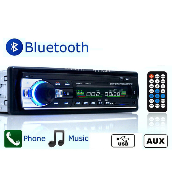JSD520 12 V Araba Stereo FM Radyo MP3 Audio Player Bluetooth araç USB / SD MMC Portu Araç Elektroniği In-Dash 1 DIN