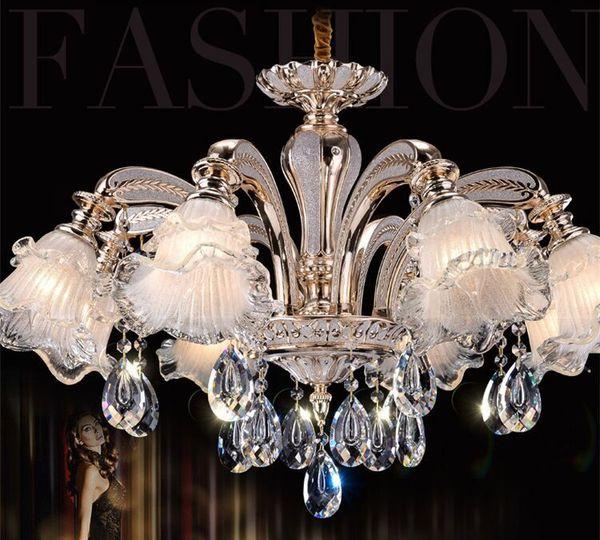 Luxury European style retro crystal chandelier lamp Jane penthouse floor bedroom dining room zinc alloy crystal chandelier
