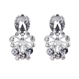 2015 New Arrive Silver Big Earrings Fashion CZ Diamond Crystal Shining Wedding Jewelry Pageant Accessories Stud Earring Chic