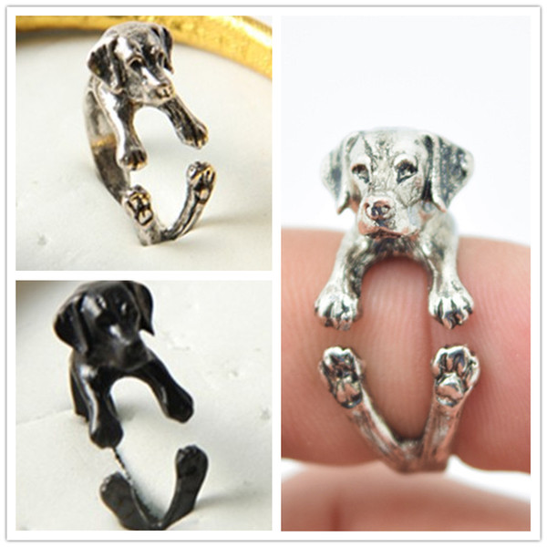 Free shipping adjustable retro punk Labrador Ring free size hippie animal Labrador dog Ring jewelry for pet lovers