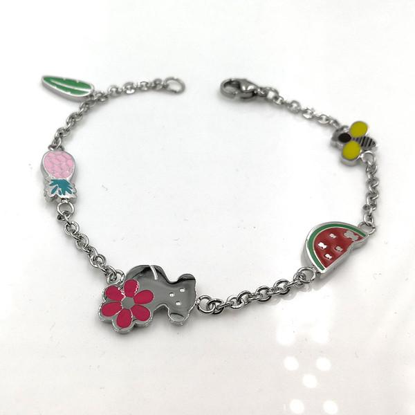 Neue Titan Frauen Edelstahl Emaille Farbe Wassermelone Ananas Blatt Bear trägt Charme Armband Großhandel pulsera mujer osos