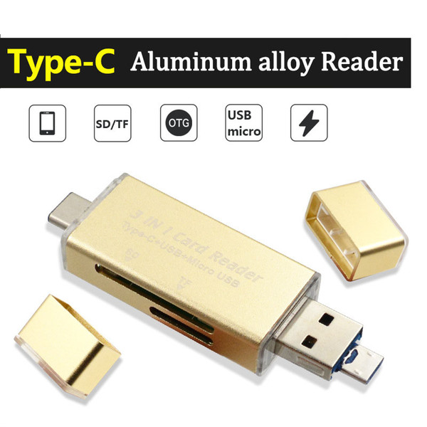 Type-C 3 in 1 Metal Card Reader with TF SD Card slot USB/Micro Portable Mini Reader Fast Transfer for Type-C Android devices with retail box