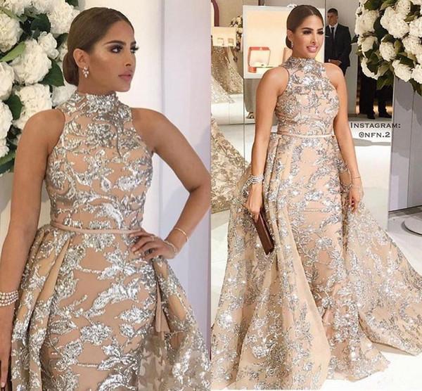 Yousef Aljasmi 2018 High Neck Prom Dresses with Detachable Train Modest Luxury Shiny Lace Applique Plus Size Evening Pageant Wear Gowns