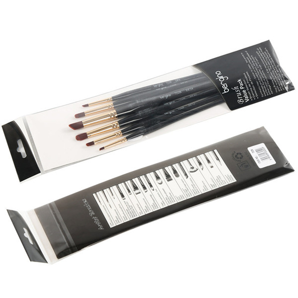 Wholesale-6pcs/set Paint Brushes Nylon Hair Oil Brush Acrylics Brush Water Color Art for Supplies Draw Tools