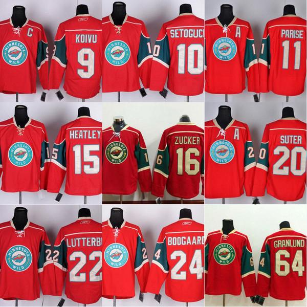 Mens Minnesota Wild Jersey 11 Zach Parise 9 Mikko Koivu 10 Devin Setoguchi Hockey 15 Dany Heatley Custom Premier Home Red Jerseys
