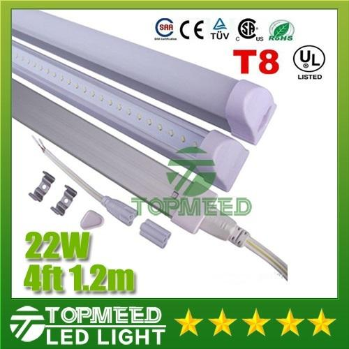 CE UL Integrated 1.2m 4ft T8 22W Led Tube Light 96Leds 2400lm Led lighting Replace Fluorescent Tubes Lamp bulb +Warranty 3Years X25