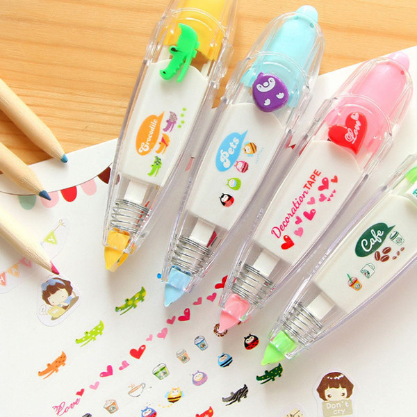 1X New Creative Stationery Push Correction Tape Lace for Key Tag Sign Children Gift