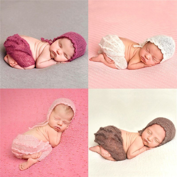 Soft Mohair Newborn Photography Props Costumes Cap/Hat Ruffles Pants 2pcs Set Baby Knitted Photo Accessories Outfit