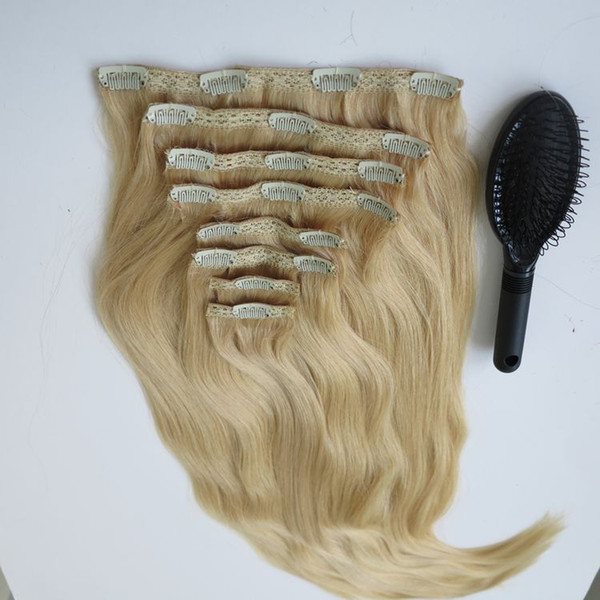 280g 20 22inch 100% Human Hair Clip In Hair Extensions Smooth Brazilian  Hair 613#/Bleach Blonde Straight Hair Free Comb Premium Remy Hair  Extensions