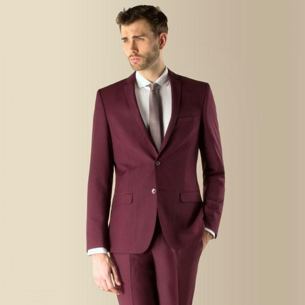 3 pieces Suit Side Vent Dark Red Groom Tuxedos NotchedLapel Two ...