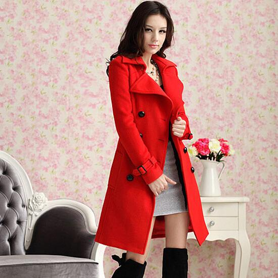 258d24809e2 2014 Fashion Hot Women's Ladies Celebrity Red Blue Slim Warm Winter Coat  Wool Woolen jacket outwear