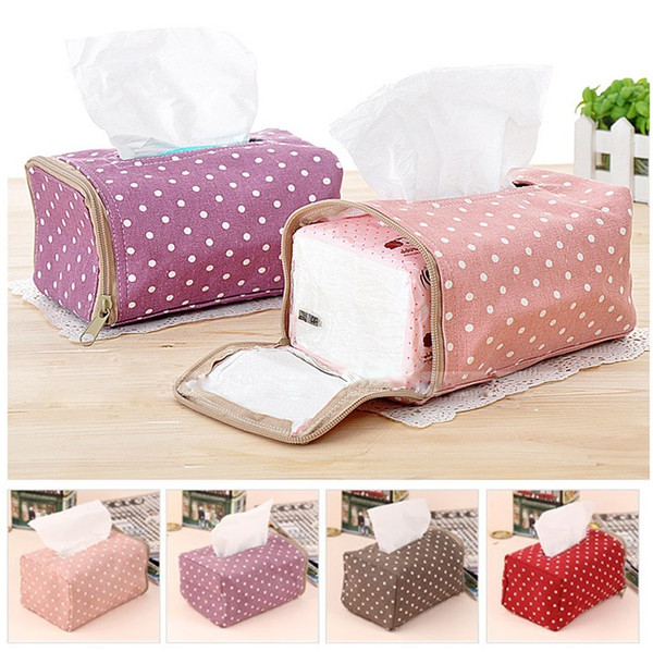 best selling Tissue Boxes Napkin Bag Fabric Cloth Polka Dot Creative Tissue Drawing Zipper Pouch