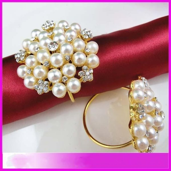 Wholesale Pearls Rhinestone Napkin Rings Hotel Wedding ,Flower Shape pearl gold ring napkin holder Western Style Wedding Rings