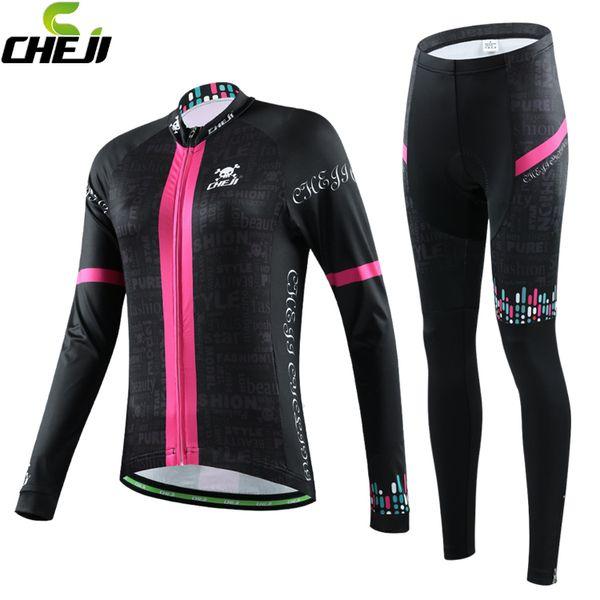 Großhandels-Cheji 2015 neue Ankunfts-lange Hülse, die Jersey-Satz schwarzes Fahrrad sportwear Frauen Winter China thermische Frau radfahrenkleidung kleidet
