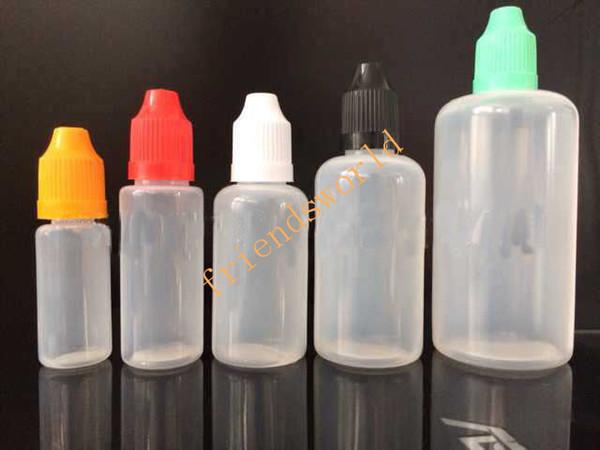 PET plastik e sıvı şişe ile çocukların açamayacağı kap, e sıvı için boş damlalık şişeleri, 10ml eliquid damlalıklı şişe e-çiğ 3/5/10/15/20 / 30ml
