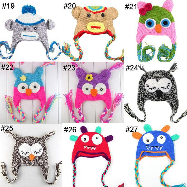 100pcs Newest Multicolor Infant Toddler Handmade Knitted Crochet Baby owl hat Cap with ear flap Animal Style For Children Gift