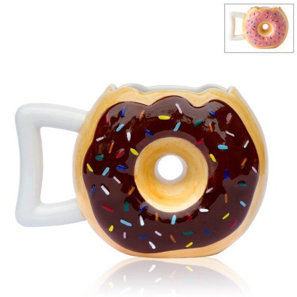 New Arrival Ceramics Tumbler Two Colors Donut Bread Coffee Cups Easy To Clean Mug Factory Direct Sale 16jm B