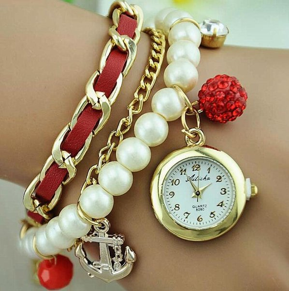 Fashion boat anchor pendant Pearl Chain Women Bracelet watch luxury Rhinestone Watches Vintage Clocks Rudder Anchor Tag Lady Pearl Watch