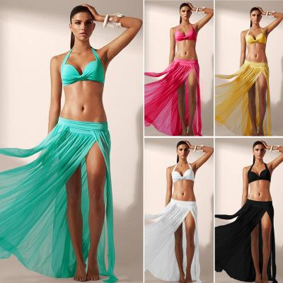 Women's Sexy Gauze Beach Maxi Skirt Swimsuit Bikini Cover Up High Waist Slits Solid Long Beach Dress Black White Red Green ZZNF0205