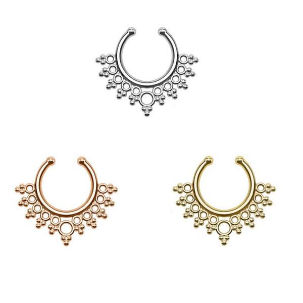 10pcs Women punk Fake Septum Clicker Nose Ring rose gold and silver none piercing nose fake septum ring Free shipping N0022