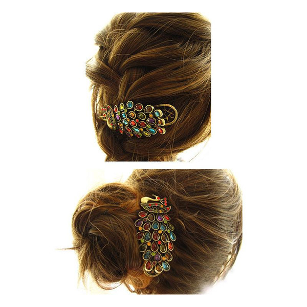 top popular Hot Sale Women's Beauty Vintage Colorful Crystal Rhinestone Peacock Hair Pin Hair Clip Free Shipping 2019