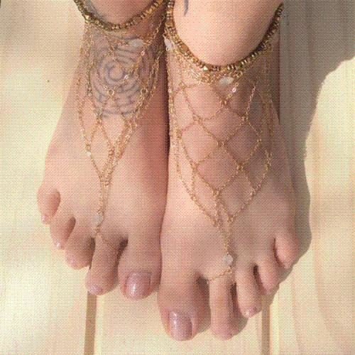 Barefoot Sandals Slave Gold Mesh Net Anklet Multi-layer Chain Toe Foot Jewelry Bracelet 2 pieces/lot Anklets