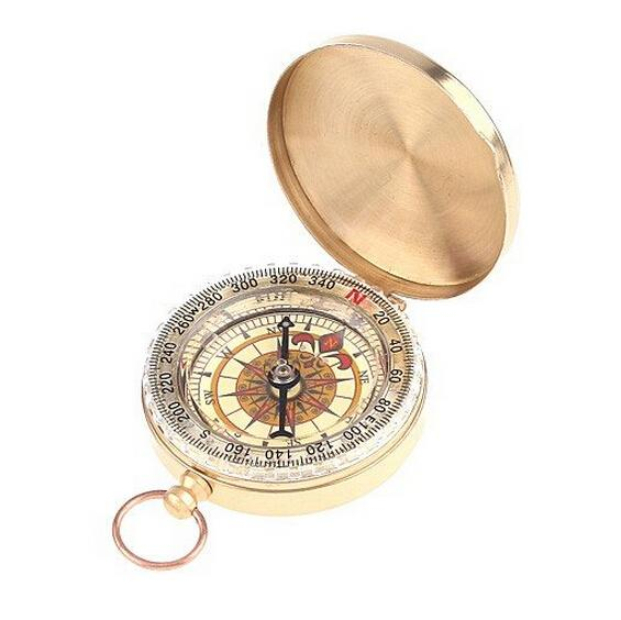 Brass Pocket Watch Style Camping Compass Hiking Compass Navigation Outdoor Tool Delicate Noctilucent compass with Retail Packaging