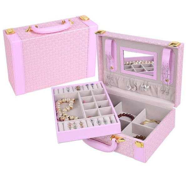 Braided Jewelry Box 2015 New Weave Pattern Leather Jewelry Case Cosmetic Box Luxury Wedding Valentine Gifts Lady Ornaments Storage Organizer