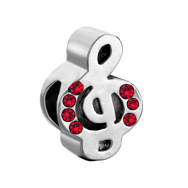 Wholesale Large Hole Metal Slide Bead January Birthstone Red Crystal Music Note Lucky European Charm Spacer Fit Pandora Bracelet