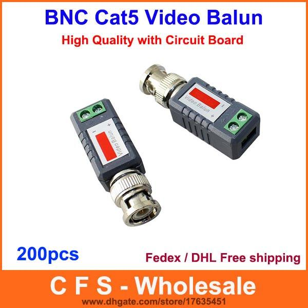 200pcs Coax CAT5 Camera CCTV Passive BNC Video Balun to UTP Transceiver Connector DHL / Fedex Free Shipping