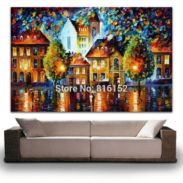 Modern Palette Knife Oil Painting Europe Architecture Luxembourg Night Picture Printed On Canvas For Home Office Wall Art Decor