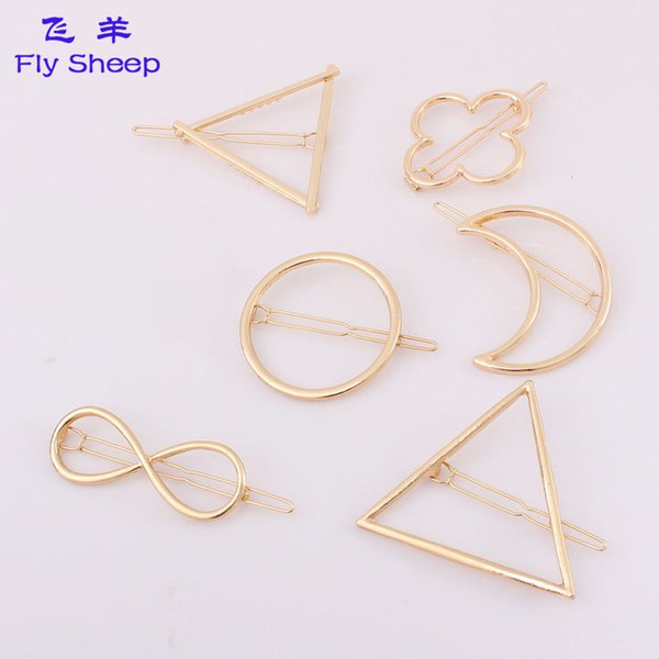 New Promotion Trendy Circle Lip Moon Triangle Hair Pin Clip Hairpins Pretty Womens Girls Metal Jewelry Accessories European Style