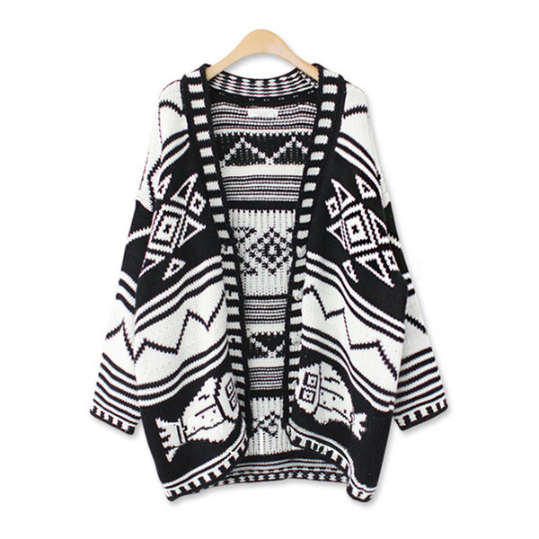 Korean Fashion Long Cardigan Sweater Diamond Geometric Printed Knitted Cardigan Women Caps And Ponchoes Cardigan Feminino S1764