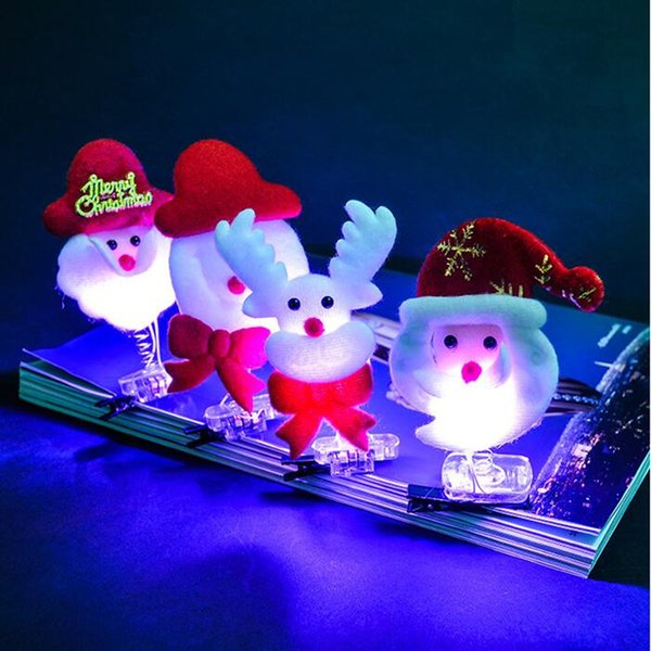 Light -Up Christmas Theme Hairpins Flashing Cartoon Hair Clips Kids Girls Hair Accessories Christmas Party Supplies New Year