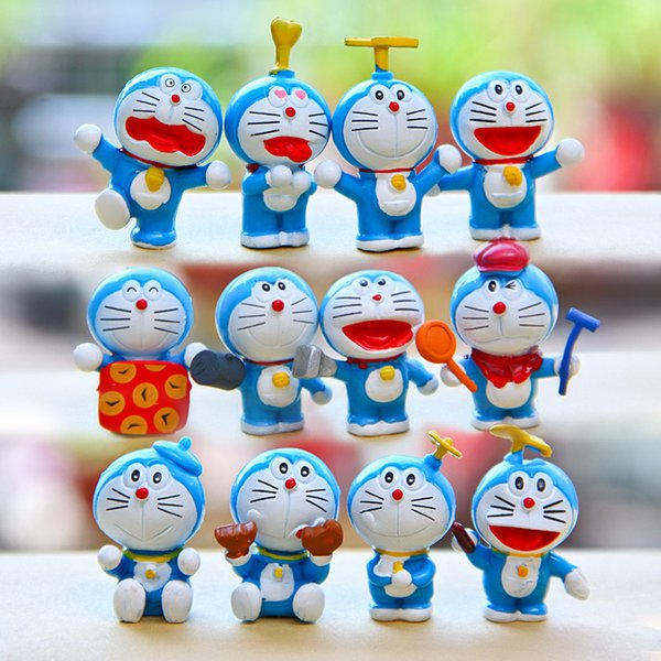 Sale 12PCS/Set Cute Doraemon cartoon cat Toppers Doll PVC Action Figures Toy Fairy Garden Miniatures Craft for Christmas Birthday Gift