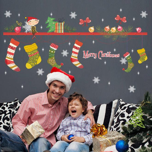 Hot Sell New Cartoon Christmas Tree Christmas Living Room Decorated Wall Sticker Mural Christmas Stockings Stickers