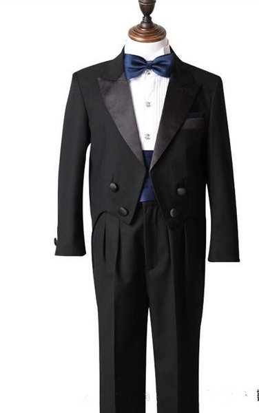 Black Real Picture Two Piece Classic Handsome boy wedding suit Groom Wear & Accessories Boy's Attire Groom Tuxedos (Jacket+Pants+Tie+Girdle)