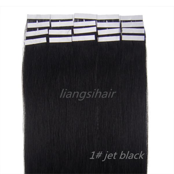 """Wholesale Prices 18""""-26"""" 20pcsx5 1# Jet Black Tape Skin Weft Brazilian Indian Malaysian Peruvian Remy Human Hair Extensions Free Shipping"""