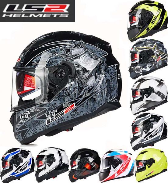 806f6fe8fb0 LS2 doble lente Full Face casco de motocicleta invierno cálido ABS  motocicletas de moto cascos con