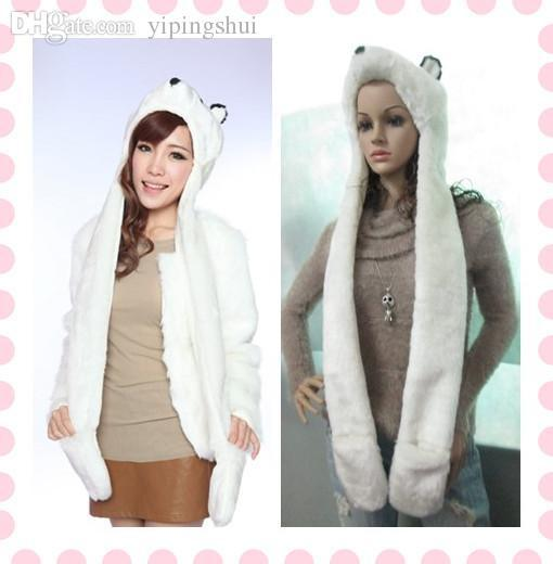 Wholesale-Winter Fashion White Rabbit Faux Fur Bear Hats Caps+Scarf+Glove With Pocket For Women' Headwear