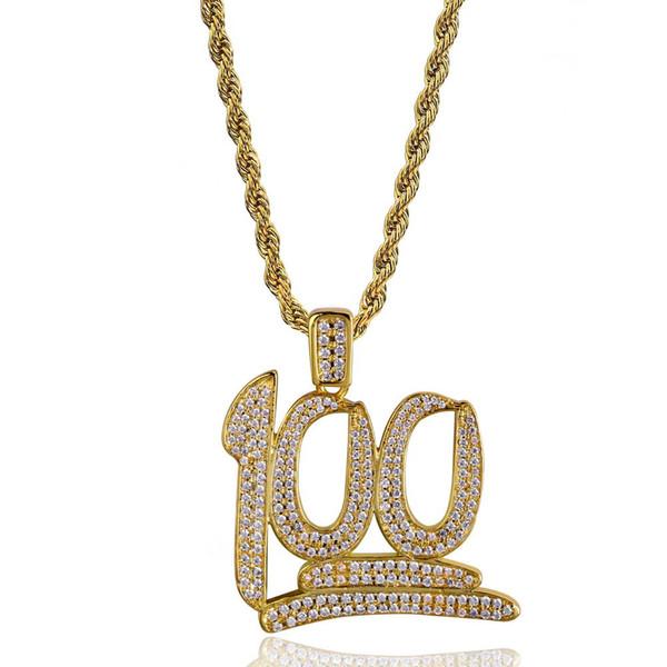 Moda Cor de Ouro Hip Hop 100 Pontos Micro Pave Cubic Zirconia Pingente Colares Homens Cobre Hiphop Completa CZ Pingentes Jóias 24 polegada Chian
