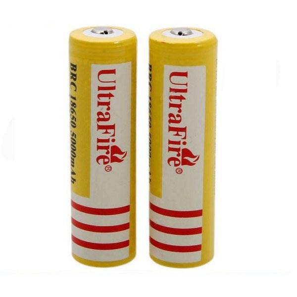 Batterie rechargeable au lithium Ultra Fire 18650 3.7V 5000mAH jaune, batteries au lithium-ion UltraFire BRC 18650 Livraison gratuite