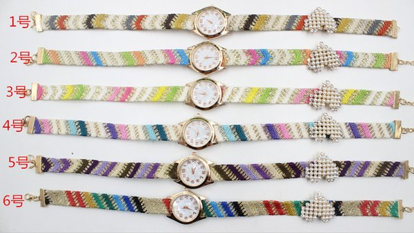Wholesale Fashion Heart Bracelet Pearls Wrist Watches Colorful Strap Watches Creative Watches For Women Drop Free Shipping