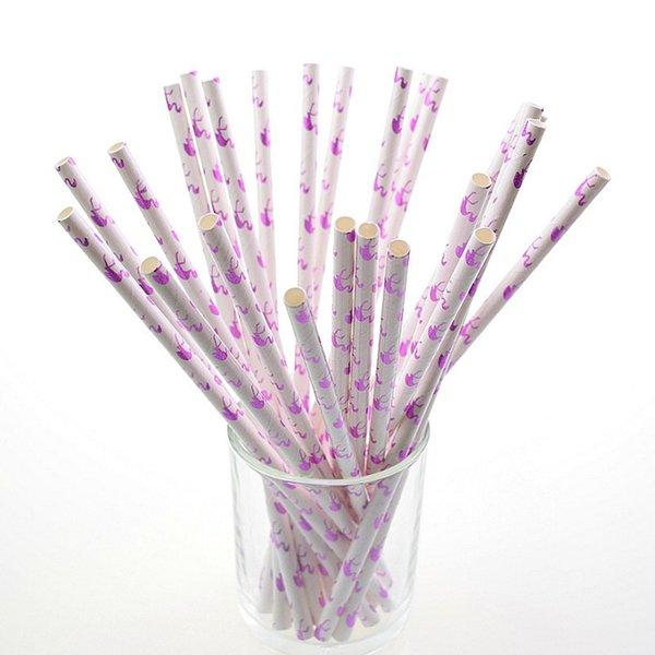 125pcs Red Purple Flamingo Paper Straws For Birthday Party Decorations Kids & Wedding Decoration Party Creative Straws Disposable Straw XMAS