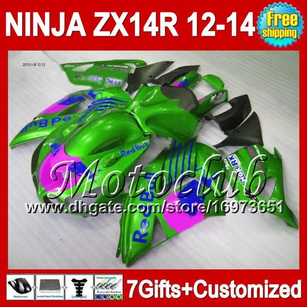 7gifts For KAWASAKI 12-13 Green blue NINJA ZX-14R 12 13 12 13 ZX14 R 25C194 ZX 14R ZX14R 2012 2013 Green pink 2012 2013 ZX 14 R Fairing