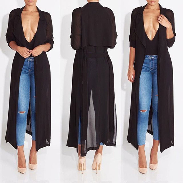 Gros- 2016 nouvelle mode plein Trench manches en mousseline de soie chiffon noir pour les femmes manteau femme robe outwear causal longue robe sexy