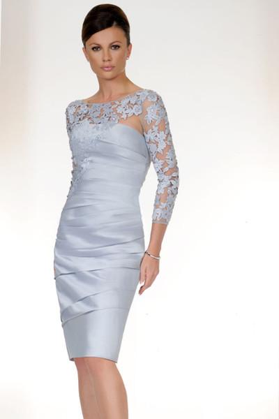 Bleu Clair 3/4 Manches Longues Mère De La Robe De Mariée Illusion Genou Longueur Plus La Taille De La Robe De Mariée Robe De Soirée