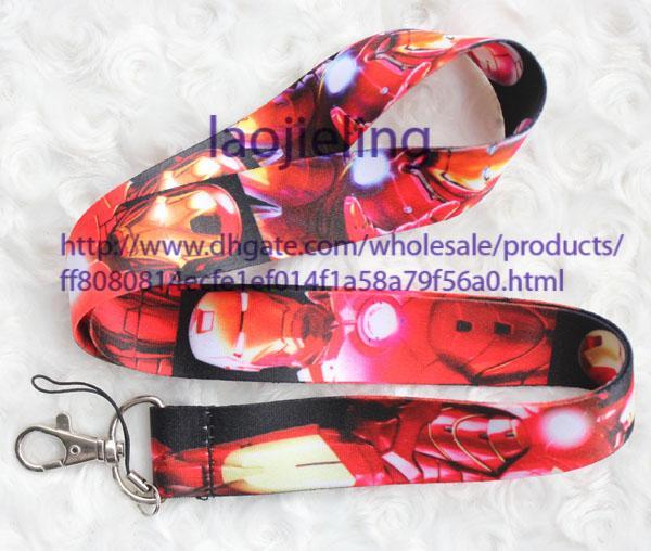 Wholesale 20 PC Iron Man Art und Weise LANYARD MP3 / 4 Handykette Halsbügel bezaubert Geschenk freies Verschiffen