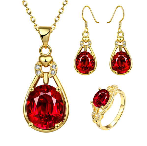 Fashion Women Fine Jewelry 18K Real Gold Plated Wedding Jewelry Sets For Women Top Quality Red Crystal Pendant Necklace Ring Earrings Sets